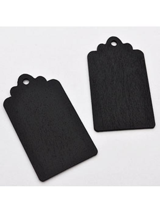 Wood pendant tag black