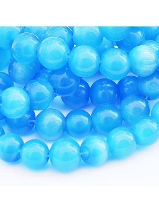 Glass bead 8 mm blue cat eye