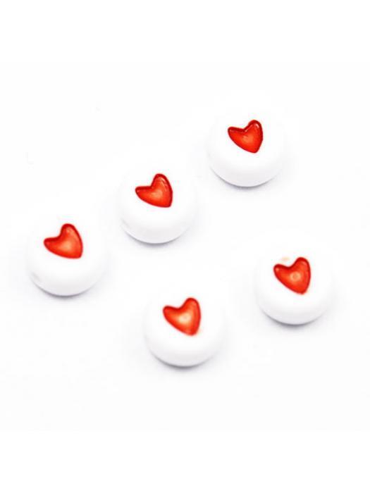 Acrylic bead heart 10 pcs