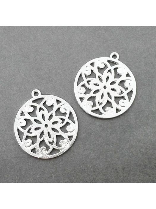 Pendant silver mandala flower