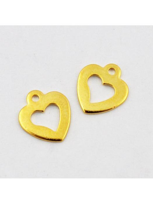 Pendant Stainless Steel gold heart 11 mm