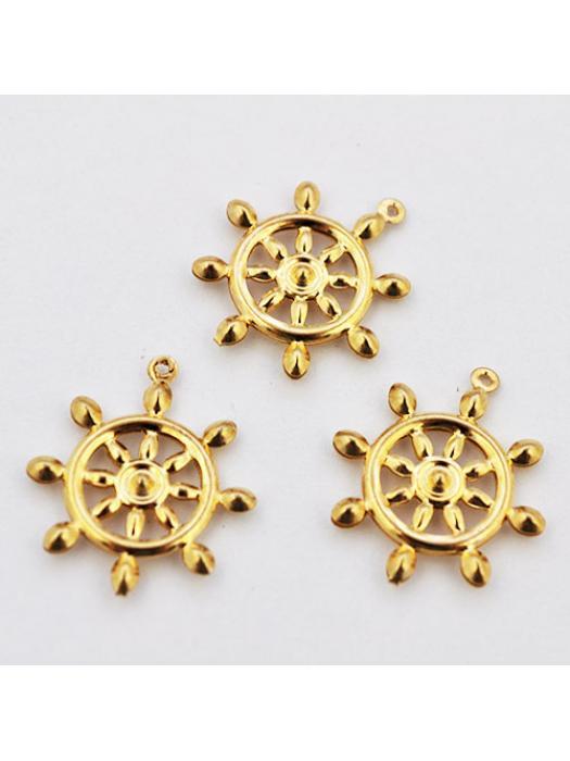 Pendant Stainless Steel gold wheel