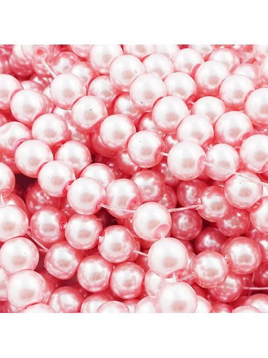 Glass bead 8 mm 10 pcs pink