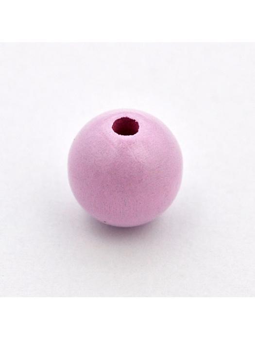 Wood bead round 15 mm light pink