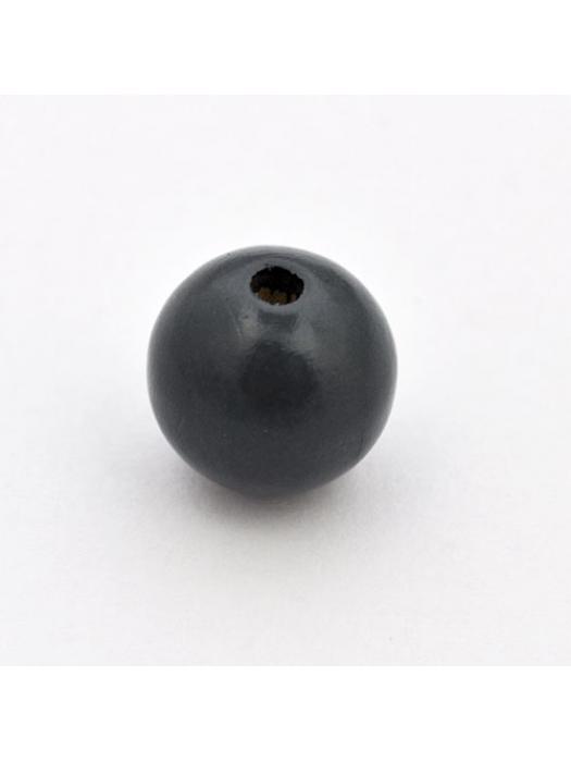Wood bead round 15 mm grey