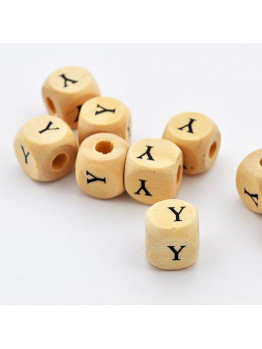 Wood bead alphabet natural CE Y
