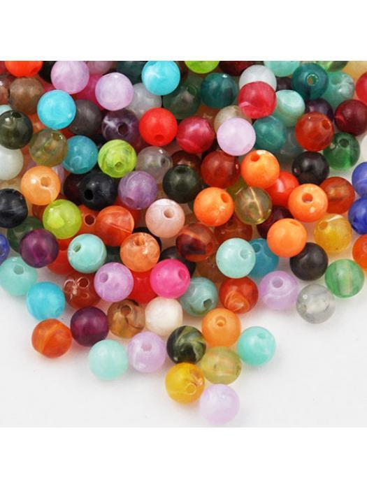 Bead round 6 mm imitation mix