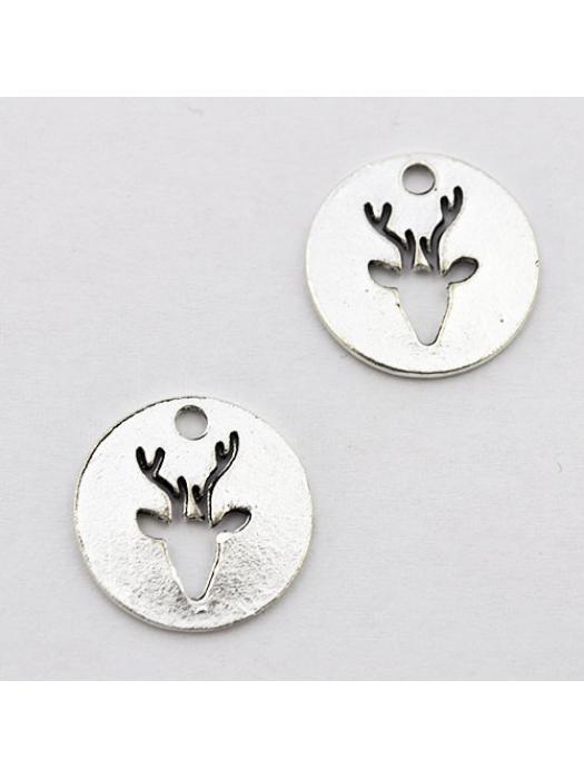 Pendant silver round deer
