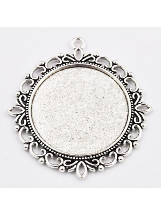 Pendant round vintage silver 35mm
