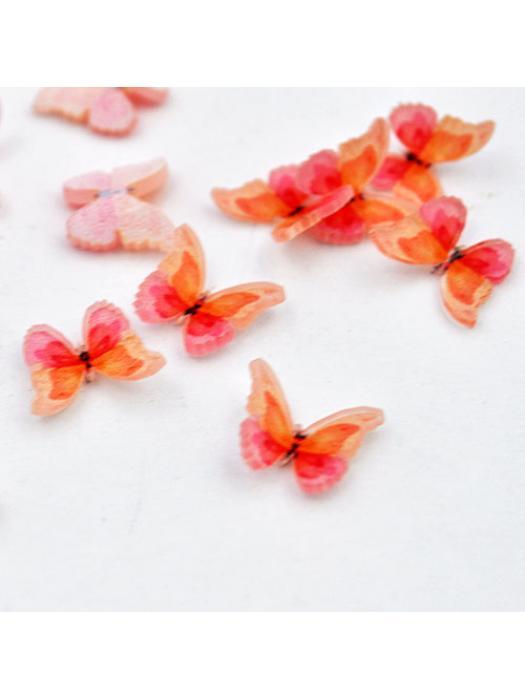 Cabochon tiny butterfly pink orange