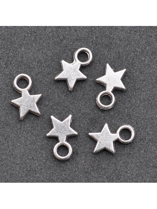 Pendant star silver  5 pcs
