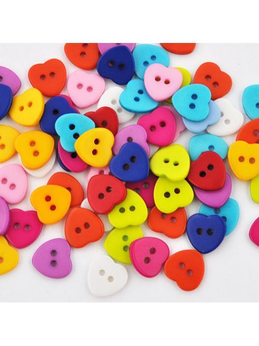 Button heart 5 pcs 11 mm