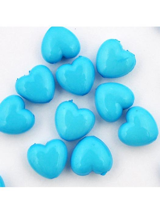 Acrylic bead blue heart 5 pcs