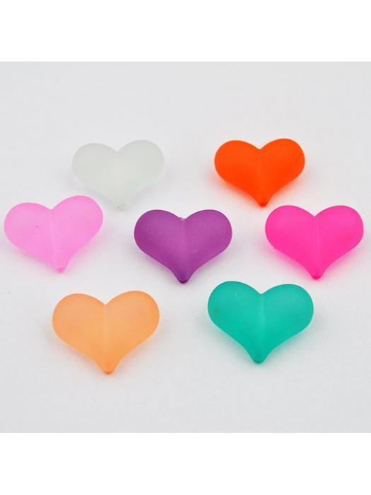 Acrylic bead heart 2 pcs