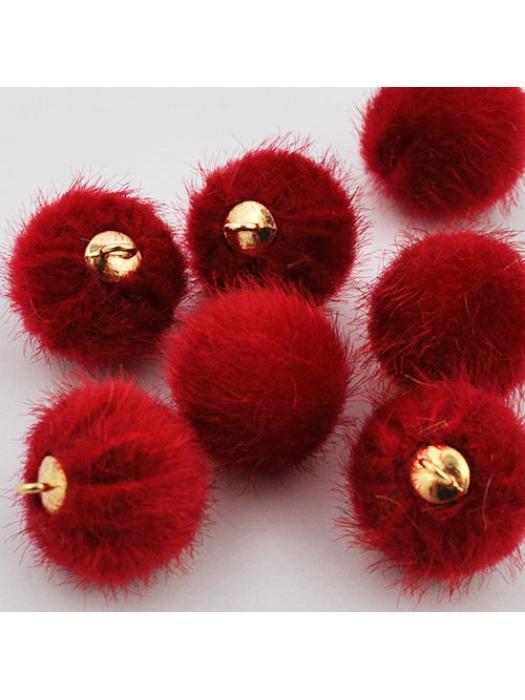 Pompon velvet red