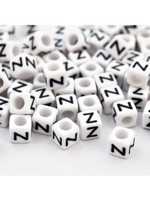 Acrylic bead alphabet white square Z