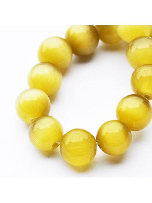 Glass bead 10 mm cat eye yellow