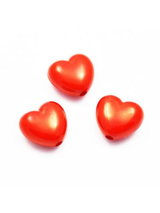 Acrylic bead red heart 5 pcs