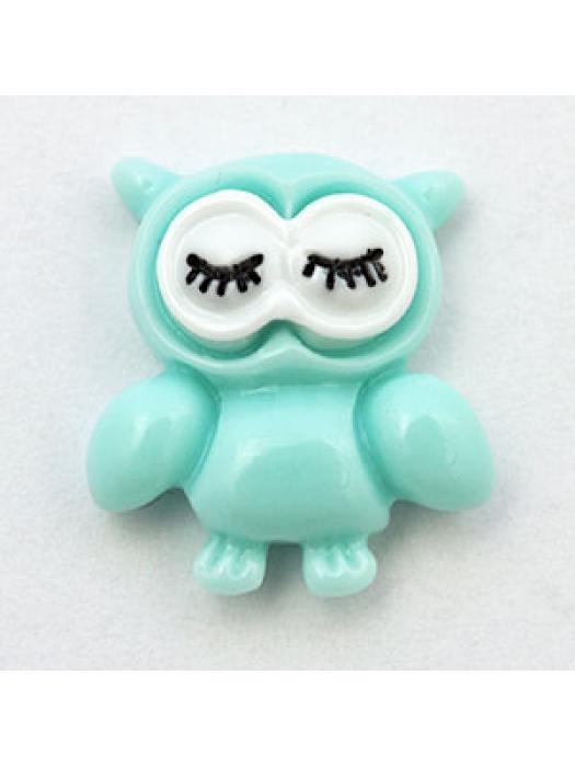 Cabochon  owl blue