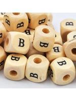 Wood bead alphabet natural CE B