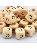 Wood bead alphabet natural CE C