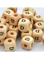 Wood bead alphabet natural CE D