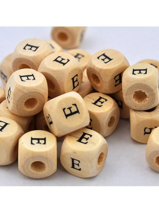Wood bead alphabet natural CE E