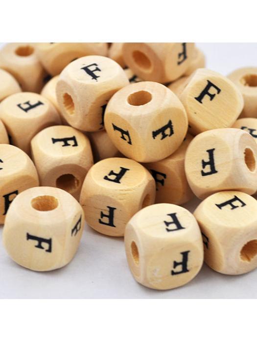 Wood bead alphabet natural CE F