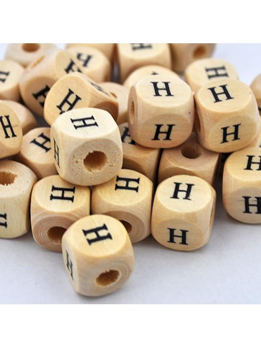 Wood bead alphabet natural CE H