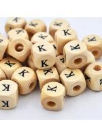 Wood bead alphabet natural CE K