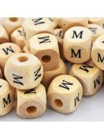 Wood bead alphabet natural CE M