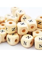 Wood bead alphabet natural CE N