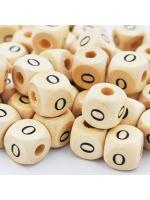 Wood bead alphabet natural CE O