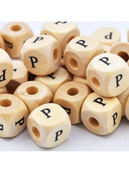Wood bead alphabet natural CE P