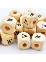 Wood bead alphabet natural CE W