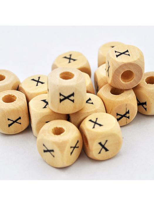 Wood bead alphabet natural CE X