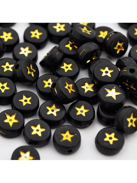 Acrylic bead star black gold