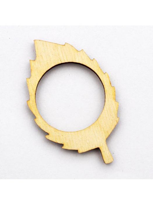 Wood pendant leaf 25 mm