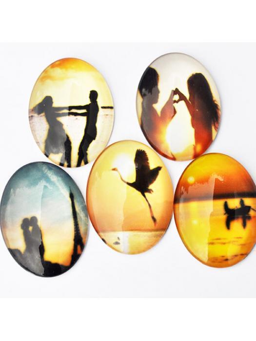 Glass Cabochon 30 x40 mm sunset