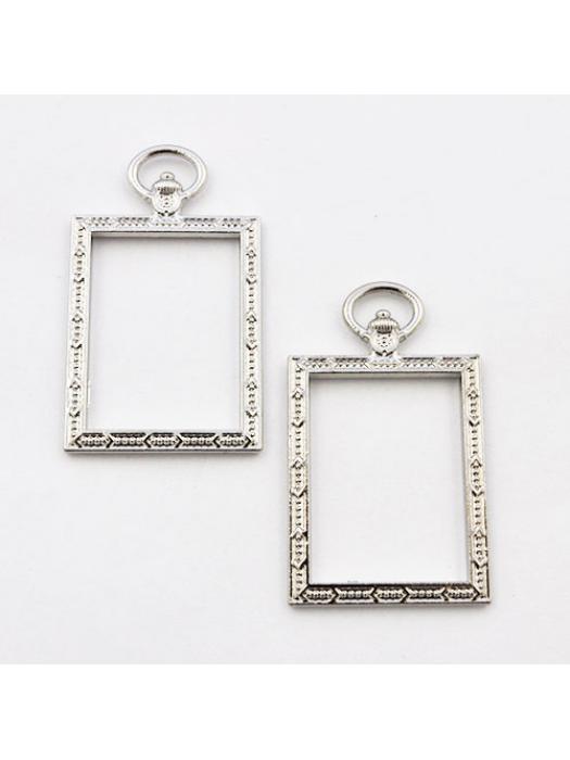 Pendant rectangle link silver 1