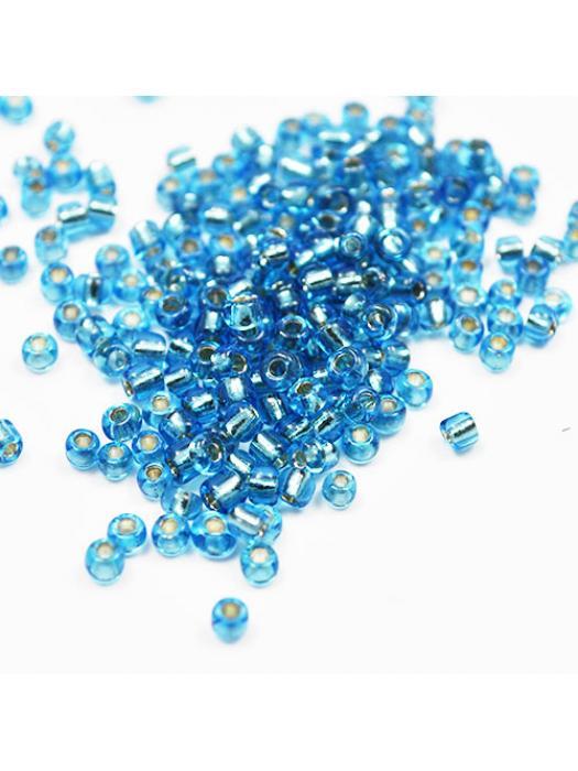 Seed bead blue silver inside