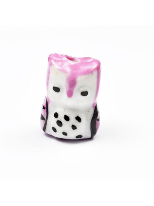 Owl  porcelain 17x 14 mm pink
