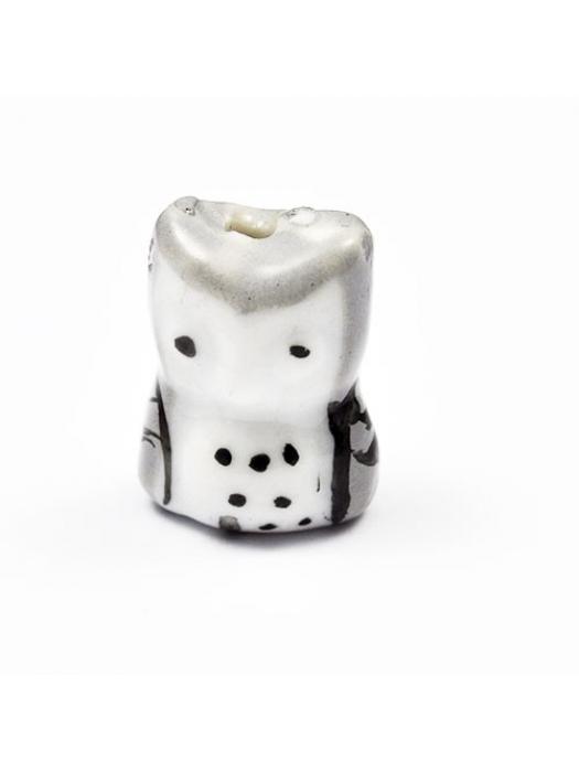 Owl  porcelain 17x 14 mm