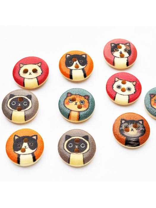 Button cat 5 pcs