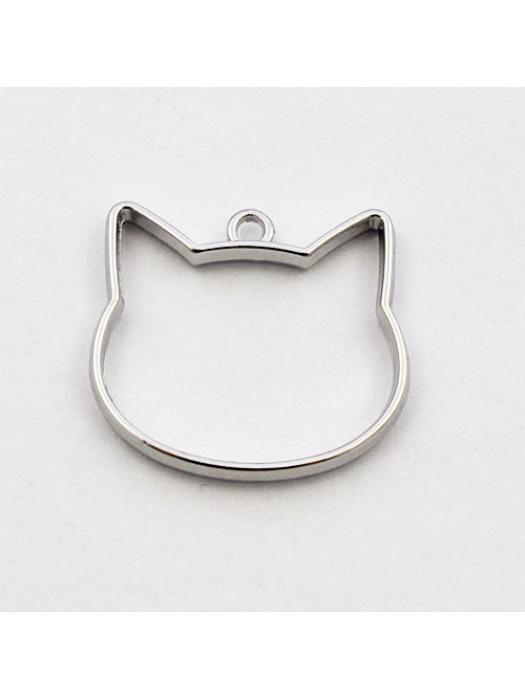 Pendant head cat silver 26 x 29