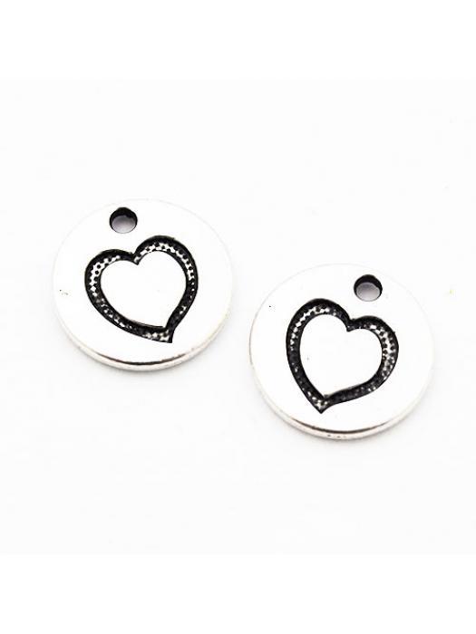 Pendant heart silver 15 mm