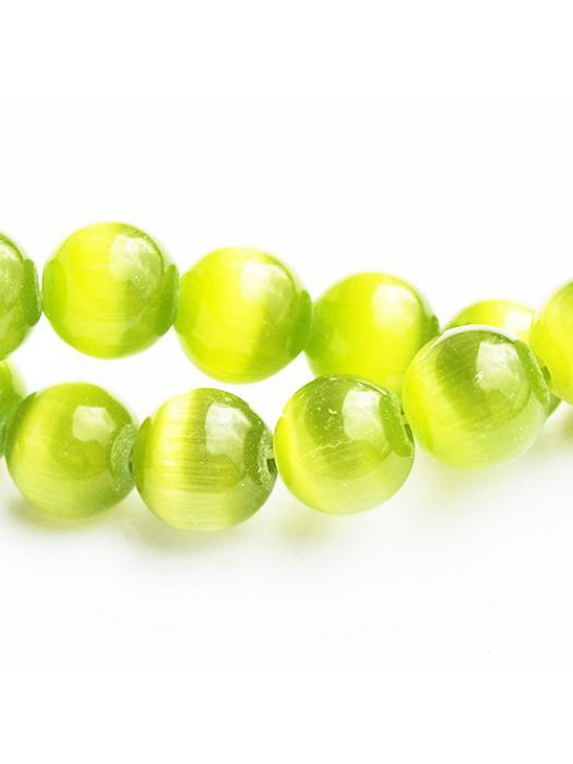 Glass bead 8 mm olive cat eye