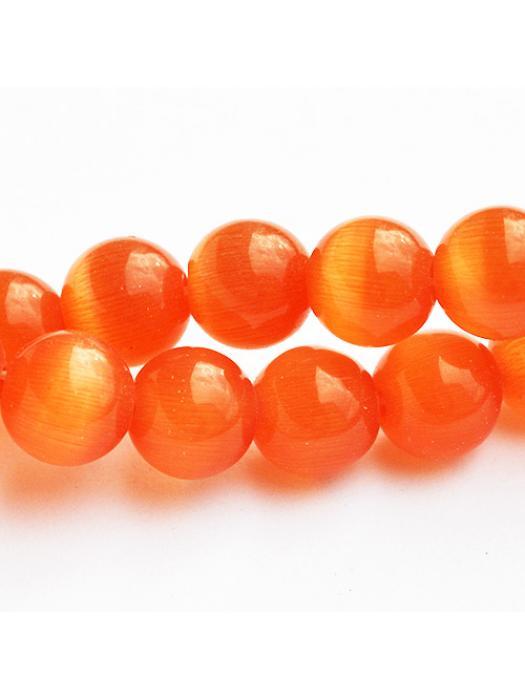 Glass bead 8 mm orange cat eye